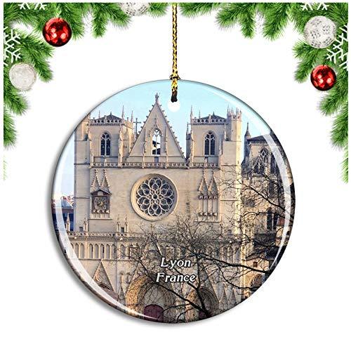 Weekino Lyon France Basilique Notre Dame de Fourviere Christmas Ornament Xmas Tree Decoration Hanging Pendant Travel Souvenir Collection Double Sided Porcelain 2.85 Inch
