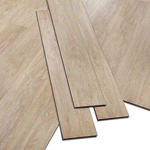 ARTENS - PVC Bodenbelag - Click Vinylboden- Rohholz-Effekt - Hellbraun/Beige - 1,1m²/5 Dielen