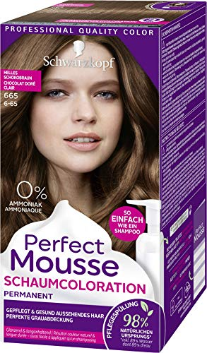Perfect Mousse Schwarzkopf Permanente Schaumcoloration, 665 helles Schokogold Stufe 3, 3er Pack (3 x 92,5 ml)