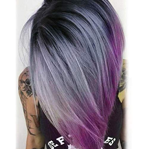 """aSulis Ombre Wigs Short Bob Wigs Purple Colorful Party Wig Synthetic Daily Wig for Women 13"""" (#Black Grey Purple)"""