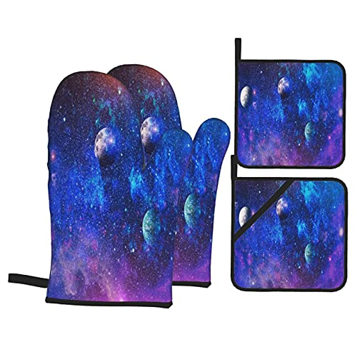 Oven Mitts and Pot Holders Sets of 4,Beautiful Nebula, Stars And Galaxies. Elements Of This Image Furnished By NASA,Polyester BBQ Gloves with Quilted Liner Resistant Hot Pads for Kitchen Cooking