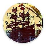 GAVA Reloj de pared para dormitorio con diseño de barco pirata para decoración del hogar, dormitorio, silencioso, reloj de pared digital para habitaciones de niños