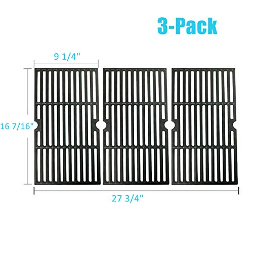 BBQration Matte Cast Iron Cooking Grid Replacement for Gas Grill Models Kenmore 146.16132110 and Kenmore 146.16133110, Set of 3