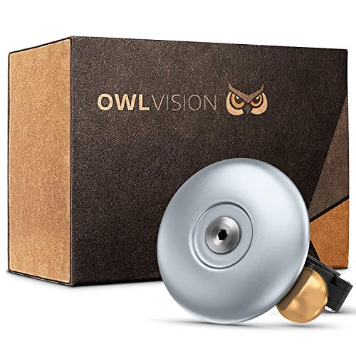 OWL VISION - Hochwertige Fahrradklingel Cymbal [universal passend] Fahrrad Klingel Retro sehr klarer Klang - Premium Fahrradglocke für Mountainbike Rennrad - MTB & Fahrrad Zubehör - Glocke Ring