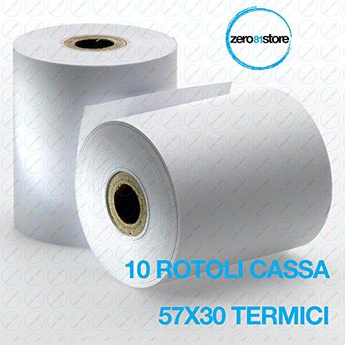 10 ROTOLI CARTA PER REGISTRATORE DI CASSA 57X30 ROTOLO TERMICO