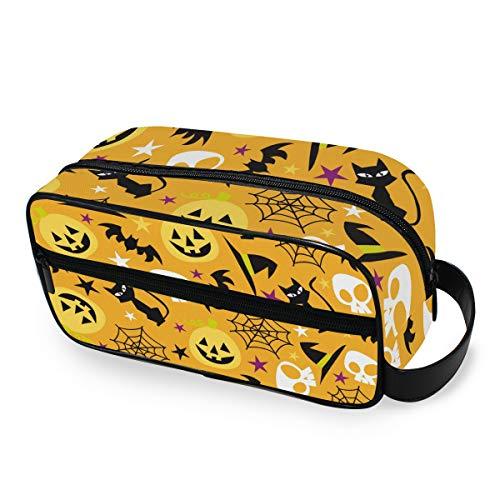 Halloween-Make-up-Tasche, Kürbis und Katzen-Schädel, tragbar, Kosmetiktasche für Frauen, Mädchen, multifunktional, Reisetasche, Kulturbeutel, Kulturbeutel, Leinen, Aufbewahrungsbeutel