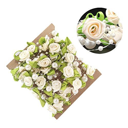 Flor artificial con guirnalda de cuerdas de perlas de 5 Metros para la decoración de manualidades del banquete de boda
