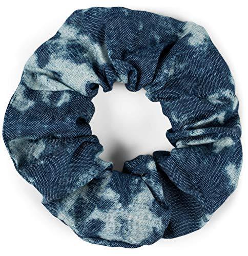 styleBREAKER Dames XXL jeans haarband in batik gebleekte stijl, elastiek, scrunchie, vlechtelastiek, haarband 04027019, Farbe:Donkerblauw