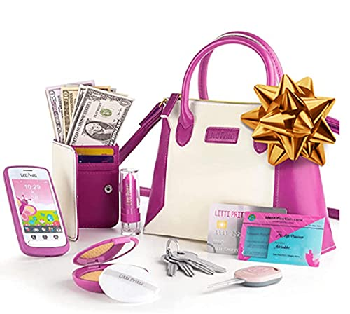 Litti Pritti Princess Toys Little Girls Purses - Pretend Play My First Purse Set - Fashionably Stylish Handbag with Makeup Smartphone Wallet Keys Credit Card Playset Perfect for Girls Ages 3+