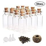 CDWERD 60 Stück 10ml Mini Glasflaschen Wunsch Flaschen mit Korken klein Glasfläschchen mit 60 Ringschrauben und 30 Meter Bindfaden und 3 Trichter