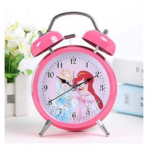 yywl Reloj Despertador Los niños del ratón Despertador Lindo Reloj Despertador con luz de Noche de Madera de Alarma Reloj electrónico Gadgets decoración del hogar (Color : Princess A)