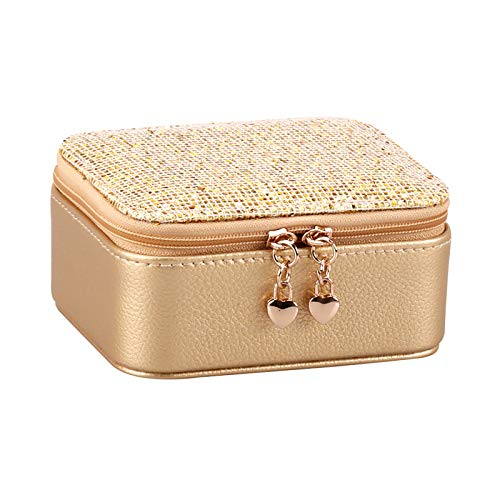 GUANYUA Jewellery Box Organiser Small Travel PU Artificial Leather Jewelry Storage Case, for Rings Earrings Necklace Bracelets Jewelry Gift Box Girls Women gold