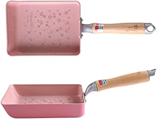 SLHP Mini sartén japonesa para tortillas Tamagoyaki, olla antiadherente de aluminio con mango de madera, acero inoxidable aluminio, 18.5 x 13.4 cm(Pink)