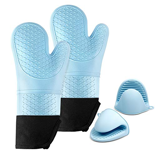 MAXZER Silicone Oven Mitts and Pot Holder Set Extra Long Kitchen Oven Gloves with Mini Grip Mittens Heat Resistant and AntiSlip Oven Gloves and Potholders for Kitchen Baking BBQ Cooking 2 Pairs