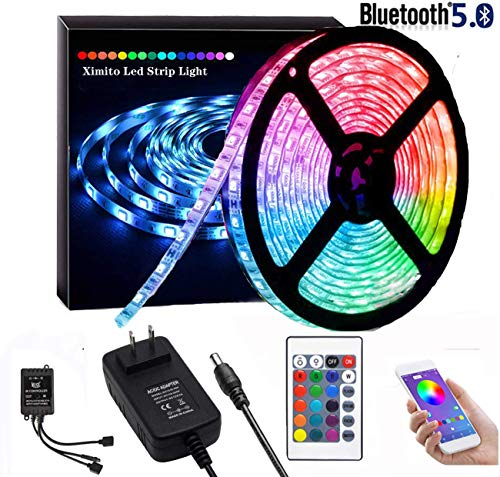 YOLOK LED Strip Lights Kit, Waterproof 150 LEDs 5050 RGB 5m 16.4ft Light Strips Color Changing Rope Light Strips with Bluetooth Controller Sync to Music Apply for TV, Bedroom, Party and Home Decoration (16.4ft)