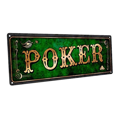 Green Poker - Cartello da parete in metallo per Mancave Den o Gameroom