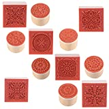 Cooyeah 12 Pieces Wooden Stamps Floral Pattern Circles and Squares Decorative Rubber Wooden Stamps for DIY Craft Card and Scrapbooking