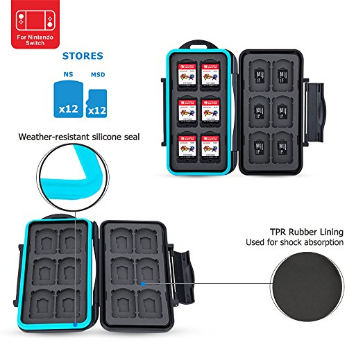 PROfoto.Trend /JJC Memory Card Case für 12 x Nintendo Switch Game Karten Sony Playstation Vita Speicherkarten und 12 x Micro SD/TF Karten (Schwarz)