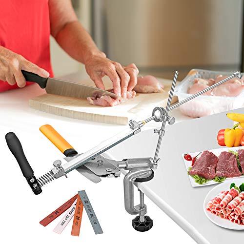 KOSIEJINN Juego de afiladores de cuchillos de acero inoxidable, de ángulo Fijo de Cocina manuales de ángulo Fijo con rotación Slicker Kit de Afilado de Bordes con 4 Piedras de afilar
