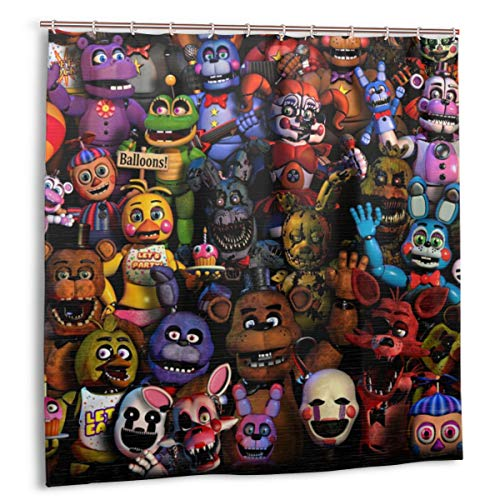 AIXIULEIDUN Five Nights at Freddy's Shower Curtain with Rust-Resistant Grommet Holes Modern Home Bathroom Decorations 72x72 in