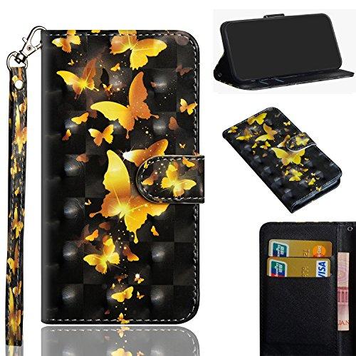 ShinyHülle PU Ledertasche für LG Q7/Q7 Plus/Q7a Brieftasche Flip Hülle 3D PU Bling Glitzer Glitter Handyhülle im Brieftasche-Stil Goldener Schmetterling Muster Handytasche PU Leder Flip Cover