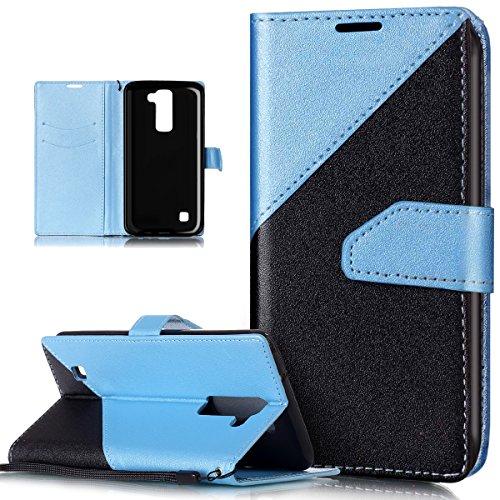 Kompatibel mit Schutzhülle LG Stylus 2 LS775 Hülle Handyhülle Leder Hülle,Schlagfarbe Nähte Spleiß Stil Naht Farben PU Lederhülle Flip Hülle Handyhülle Ständer Tasche Wallet Schutzhülle,Helles Blau