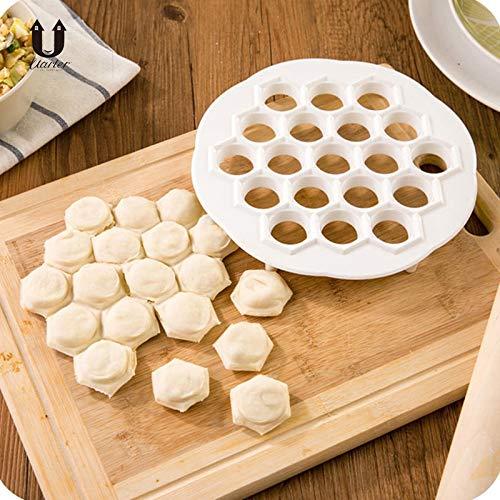 SaveStore 21x 2cm DIY White Plastic Dumpling Mold Kitchen Pastry Tools Maker Dough Press Dumpling 19 Holes Dumplings Maker Mold