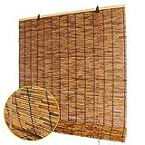 Koovin Persianas enrollables de bambú, Hechas de caña, Cortinas Decorativas Retro Anti-Moho Impermeables, para Exteriores/Interiores