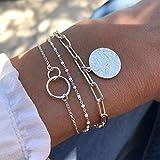 Handcess Boho Multi-couche Paillettes Bracelets Or Double Ce