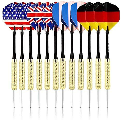 BESLIME Dartpfeile, 12 Stück Darts Pfeile Set, 18 Gramm Dartpfeile mit National Flagge Flights Edelstahl Stahl Nadel Spitze Dart, 4 Style Dart Flights