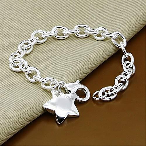 letaowl Pulsera Mujer Joyería clásica 925 Plata esterlina Estrella Encanto Pulsera para Mujeres Hombres Plata eslabón Pulsera de Cadena