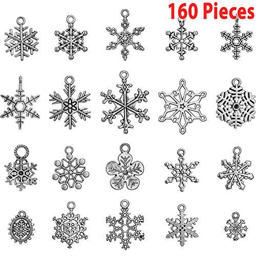 Hicarer 160 Pezzi Antichi Ciondolo Fiocco Di Neve Argento Natale Fiocco Di Neve Ciondoli Pendenti Gioielli Fabricazione Accessori Per Lavorazione Fai Da Te Collana Bracciale