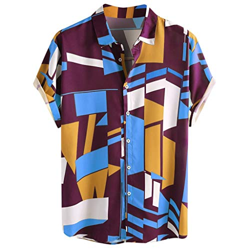 Mens New Casual Button Down Shirt,Contrast Color Geometric Printed Short Sleeve Loose Beach Work Shirts Purple