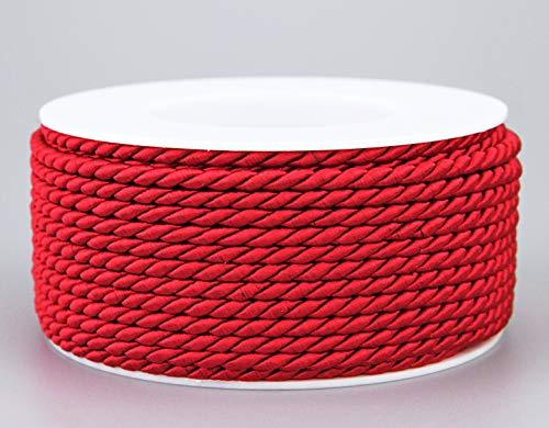 finemark Cordel rojo 25 m x 4 mm rollo de cordón decorativo giratorio con brillo hilo trenzado