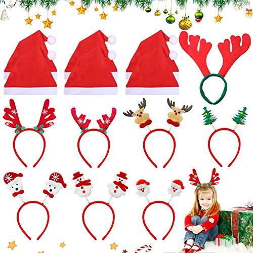 8 Cinta para la frente de Navidad + 6 gorro navideño, Diadema de árbol de Navidad, Diadema navideña,Diadema navideña para mujer, Decoración Cabello De Fiestas Navideñas,cinta para el pelo navideña (A)