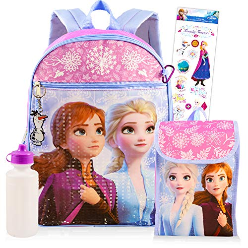 Disney Frozen Backpack Set for Girls Kids ~ 6 Pc Deluxe 16 Inch Frozen Backpack with Lunch Bag, Water Bottle, Stickers, and More (Frozen School Supplies Bundle)