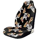 Night-Shop Set di 2 simpatici coprisedili per auto anteriori per pizza Bulldog inglese resistenti all'acqua e morbidi
