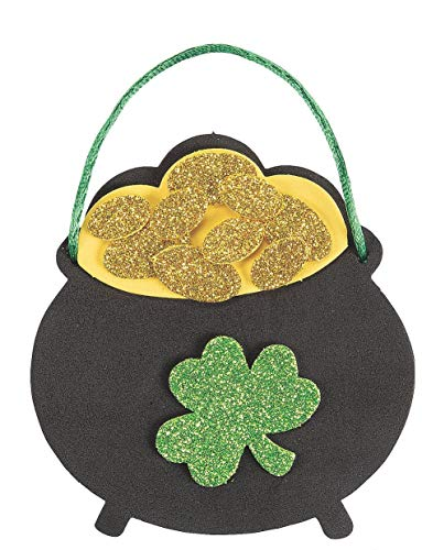12 Pot of Gold Ornament Craft Kits - St Patrick's Day Crafts for Kids