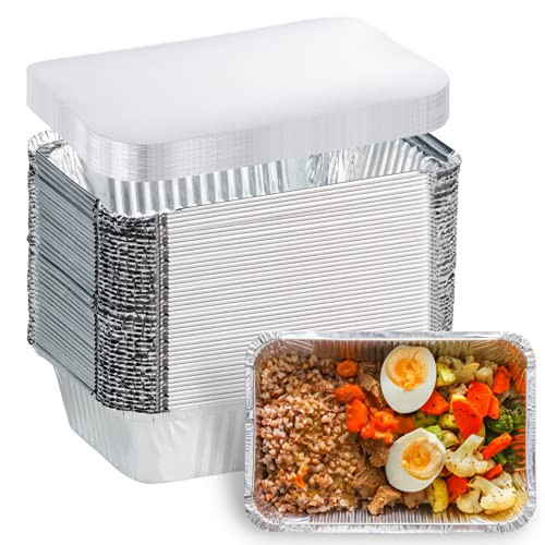 50 Pack Aluminum Foil Pans Disposable - 8.5'×6'×2' Foil Food Containers with Lids - 2.25 LB Heavy Duty Tin Foil Pans - 50 Containers and 50 Lids - for Cooking, Baking, Meal Prep and Freezer, Takeout