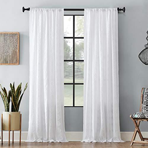 """Archaeo Diamond Fray 100% Cotton Curtain, 50"""" x 84"""", White"""