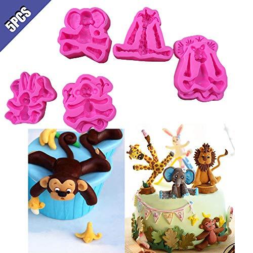 Comidox Silikon-Form für Fondant, Motiv: Löwe, Elefant, Affe, Giraffe, Kaninchen, Silikon, für Kindergeburtstag, Kuchendekoration, 5 Stück