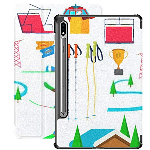 Samsung Galaxy S7 plus Case With S Pen Holder Skiing Icons Set Vector Accessories Skis Pu Leather Case For Samsung Galaxy Tab S7 plus 12.4 Inch 2020,samsung Galaxy Tab S7 plus Case Cover With Auto-wa