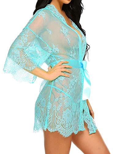 UUANG Mujer Ropa de Dormir Conjunto Sexy Lingerie Transparente Lace Lenceria Erotica Babydoll Ropa Interior