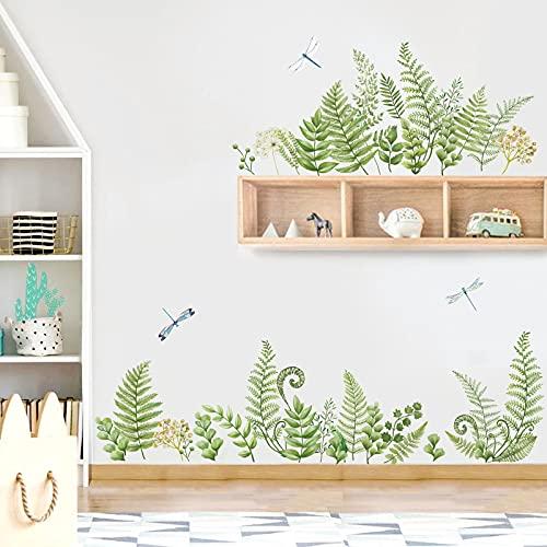 decalmile Pegatinas de Pared Hojas Verde Vinilos Decorativos Plantas Tropicales Rodapié Adhesivos Pared Habitacion Dormitorio Salón