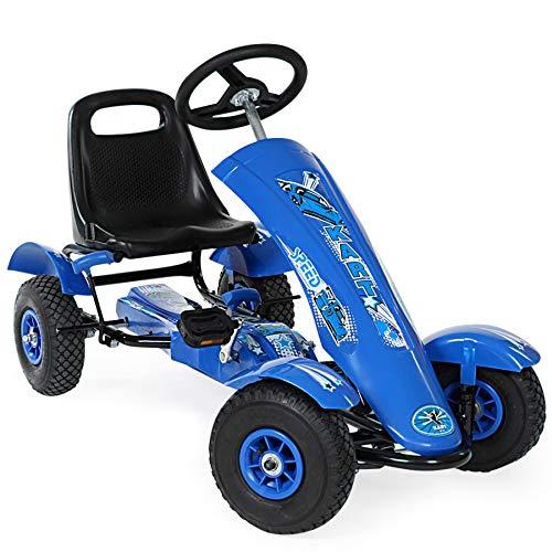 tectake 800123 Kart à Pédales d'extérieur Go-Kart au Design Sportif avec Roues Gonflables - Diverses Couleurs...