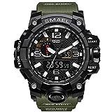 腕時計 メンズ SMAEL腕時計 メンズウォッチ 防水 スポーツウォッチ アナログ表示 デジタル クオーツ腕時計 多機能 ミリタリー ライト時計 運動腕時計 (アーミーグリーン)
