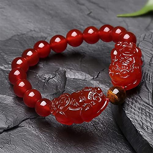 KWWLAC Doble Pixiu Natural Ágata Roja Piedra Preciosa Energía Curativa Feng Shui Amuleto Pulsera Chakra Equilibrio Pulsera,Tres Monedas Pixiu,12mm