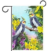 ウェルカムフラワーリースガーデンフラッグヤード両面鳥 パティオ芝生の家の屋外の装飾の春のための庭の花の旗