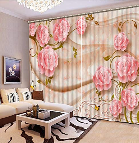 KUKUALE Multiple Size 2 Tablets 3D Curtains for Bedroom Marble Flowers Blackout 3D Curtains for Living Room Modern Curtain Window Decoration1
