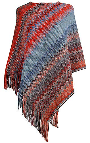 QZUnique Women's Sweater Pullover Wrap Poncho Pashmina Long Knitted Tassels Edge Waves